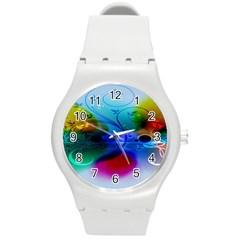 Abstract Color Plants Round Plastic Sport Watch (m) by BangZart