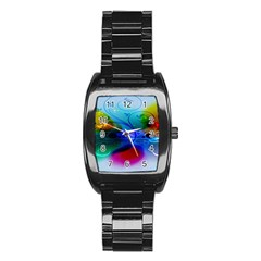 Abstract Color Plants Stainless Steel Barrel Watch by BangZart
