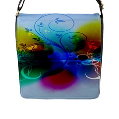 Abstract Color Plants Flap Messenger Bag (l)