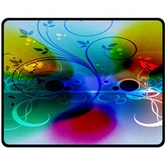 Abstract Color Plants Double Sided Fleece Blanket (medium)  by BangZart