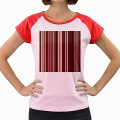 Brown Vertical Stripes Women s Cap Sleeve T-Shirt by BangZart
