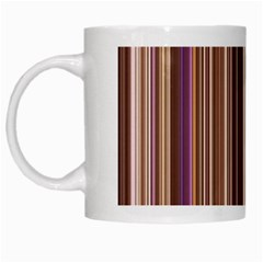 Brown Vertical Stripes White Mugs by BangZart