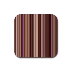 Brown Vertical Stripes Rubber Square Coaster (4 Pack)  by BangZart