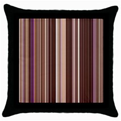 Brown Vertical Stripes Throw Pillow Case (black) by BangZart