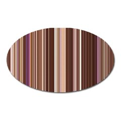 Brown Vertical Stripes Oval Magnet by BangZart