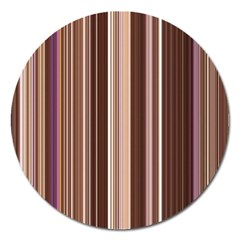 Brown Vertical Stripes Magnet 5  (round) by BangZart