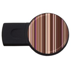 Brown Vertical Stripes Usb Flash Drive Round (2 Gb)