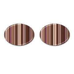 Brown Vertical Stripes Cufflinks (oval) by BangZart