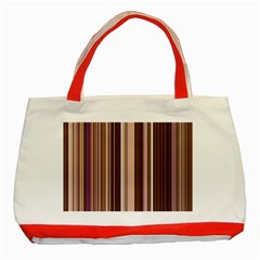 Brown Vertical Stripes Classic Tote Bag (red)