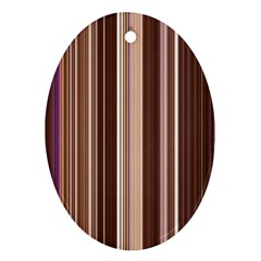 Brown Vertical Stripes Oval Ornament (two Sides)