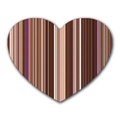 Brown Vertical Stripes Heart Mousepads