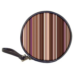 Brown Vertical Stripes Classic 20 Cd Wallets by BangZart