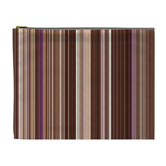 Brown Vertical Stripes Cosmetic Bag (xl) by BangZart