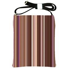 Brown Vertical Stripes Shoulder Sling Bags by BangZart