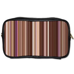 Brown Vertical Stripes Toiletries Bags by BangZart