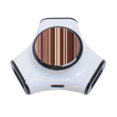 Brown Vertical Stripes 3 Port Usb Hub by BangZart