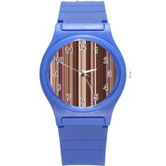 Brown Vertical Stripes Round Plastic Sport Watch (s)
