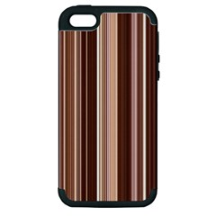 Brown Vertical Stripes Apple Iphone 5 Hardshell Case (pc+silicone) by BangZart
