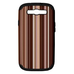 Brown Vertical Stripes Samsung Galaxy S Iii Hardshell Case (pc+silicone) by BangZart