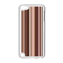 Brown Vertical Stripes Apple Ipod Touch 5 Case (white) by BangZart