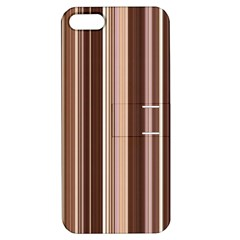 Brown Vertical Stripes Apple Iphone 5 Hardshell Case With Stand by BangZart