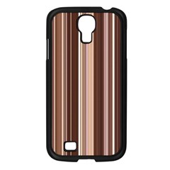 Brown Vertical Stripes Samsung Galaxy S4 I9500/ I9505 Case (black) by BangZart