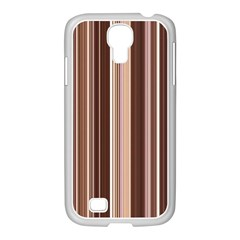 Brown Vertical Stripes Samsung Galaxy S4 I9500/ I9505 Case (white) by BangZart