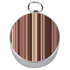 Brown Vertical Stripes Silver Compasses