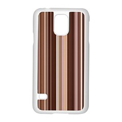 Brown Vertical Stripes Samsung Galaxy S5 Case (white) by BangZart