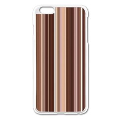 Brown Vertical Stripes Apple Iphone 6 Plus/6s Plus Enamel White Case by BangZart