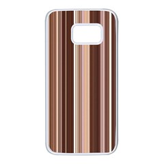 Brown Vertical Stripes Samsung Galaxy S7 White Seamless Case