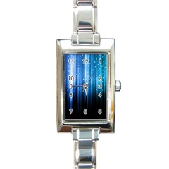Blue Abstract Vectical Lines Rectangle Italian Charm Watch by BangZart