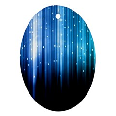 Blue Abstract Vectical Lines Ornament (oval) by BangZart
