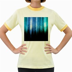 Blue Abstract Vectical Lines Women s Fitted Ringer T Shirts