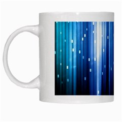 Blue Abstract Vectical Lines White Mugs