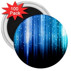 Blue Abstract Vectical Lines 3  Magnets (100 Pack)
