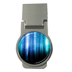Blue Abstract Vectical Lines Money Clips (round)