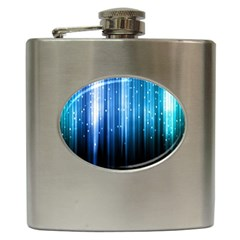Blue Abstract Vectical Lines Hip Flask (6 Oz) by BangZart