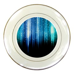 Blue Abstract Vectical Lines Porcelain Plates