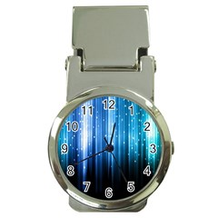 Blue Abstract Vectical Lines Money Clip Watches by BangZart