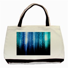 Blue Abstract Vectical Lines Basic Tote Bag by BangZart