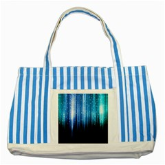 Blue Abstract Vectical Lines Striped Blue Tote Bag by BangZart