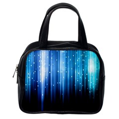 Blue Abstract Vectical Lines Classic Handbags (one Side)