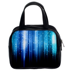 Blue Abstract Vectical Lines Classic Handbags (2 Sides)