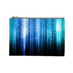 Blue Abstract Vectical Lines Cosmetic Bag (large)  by BangZart