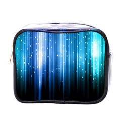 Blue Abstract Vectical Lines Mini Toiletries Bags by BangZart