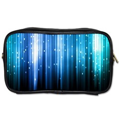 Blue Abstract Vectical Lines Toiletries Bags 2 Side