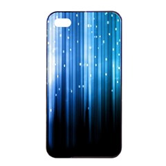 Blue Abstract Vectical Lines Apple Iphone 4/4s Seamless Case (black) by BangZart