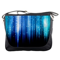 Blue Abstract Vectical Lines Messenger Bags