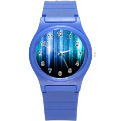 Blue Abstract Vectical Lines Round Plastic Sport Watch (s) by BangZart